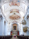 The interior and ceiling of  St. Quirinus Church Stock Images