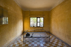 Interior of cell, Tuol Sleng Museum or S21 Prison, Phnom Penh, C Stock Photography