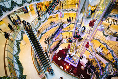 The interior of the CentralWorld Mall, at Siam, in Bangkok, Thai Stock Image
