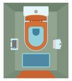 Interior cerâmico do toalete com a prateleira de vidro para o telefone no estilo liso Vista superior ilustração stock
