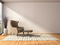 Interior with chair. 3d illustration Stock Images