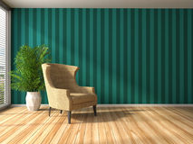 Interior with chair. 3d illustration Stock Photos