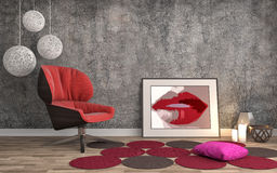 Interior with chair. 3d illustration Royalty Free Stock Image