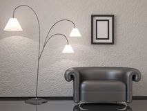 The interior with chair and lamp Stock Photography