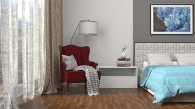 Interior with chair and plant. 3d illustration Royalty Free Stock Photo