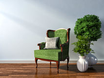 Interior with chair and plant. 3d illustration Royalty Free Stock Images