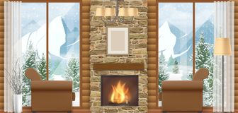 Interior chalet with mountain view. Luxury home interior with a fireplace and mountain view through the window. Vector illustration of a winter vacation Stock Photography