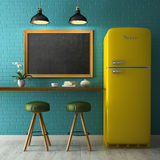 Interior with chalkboard mockup 3D rendering Stock Photography
