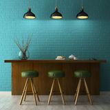 Interior with chalkboard mockup 3D rendering Royalty Free Stock Photos