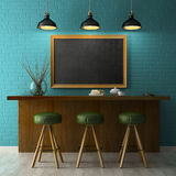 Interior with chalkboard mockup 3D rendering Royalty Free Stock Images
