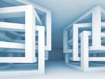 Interior with chaotic braced cube constructions, 3d. Abstract empty interior with chaotic braced cube constructions, 3d illustration Stock Photography