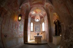Interior of the chapel of the castle in Bled Royalty Free Stock Images