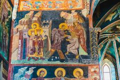 Interior of Chapel of the Holy Trinity in Lublin, Poland. Wall frescoes royalty free stock images