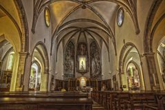 Interior of the chapel in Lloret de Mar. Church in the city center built in Gothic style. Parish church on the coast of Costa Brava stock photography
