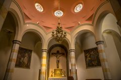 Interior chapel in Lloret de Mar. Church of Santa Roma in the city center built in Gothic style. Parish church on the coast of Costa Brava royalty free stock images