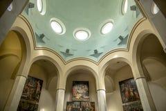 Interior chapel in Lloret de Mar. Church of Santa Roma in the city center built in Gothic style. Parish church on the coast of Costa Brava stock image