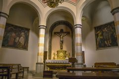 Interior chapel in Lloret de Mar. Church of Santa Roma in the city center built in Gothic style. Parish church on the coast of Costa Brava royalty free stock photography