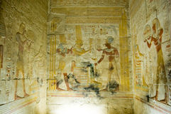 Interior Chapel, Temple of Abydos. View of a chapel at the Temple to Osiris at Abydos near El Balyana.  The Ancient Egyptian temple shows the Pharaoh Seti I Stock Image
