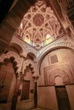 The interior of the chapel of Villaviciosa in Mesquite mosque mezquita in Cordoba. Spain Andalucia. Cordoba Andalusia Spain - April 5, 2015: The interior of the stock images