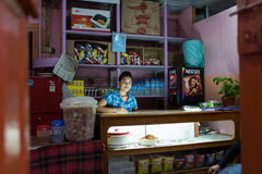 Interior of characteristic shop in the centre of Thimphu Stock Image