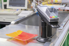 Interior of a checkout point in supermarket Stock Image