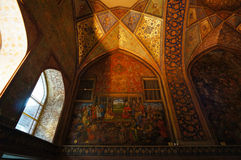 Interior of the Chehel Sotoun palace in Isfahan,Iran. Chehel sotoun was built in 1646 by Shah Abbas II to be used for his entertainment and receptions Stock Photo