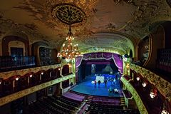 Interior of Chernivtsi Music Drama Theater in Chernivtsi, Ukraine. Repetition in Chernivtsi Music Drama Theater at in Chernivtsi, Ukraine Stock Image