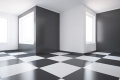 Interior with chess pattern on floor Royalty Free Stock Image