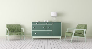 Interior with chest of drawers and armchairs 3d Stock Image