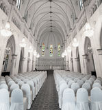 Interior of Chijmes Hall in Downtown Singapore. Interior of the historic, gothic-style chapel in downtown Singapore. This place serves as a venue for both public stock photography