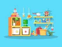 Interior of child room. With the ball toys, robot, helicopter. Vector illustration Stock Photos