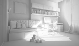 Interior of the child-room 3D rendering stock illustration