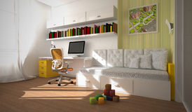 Interior of the child-room 3D rendering Royalty Free Stock Images