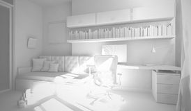 Interior of the child-room 3D rendering royalty free illustration