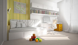 Interior of the child-room 3D rendering vector illustration