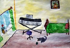 Piano in the room painted by child royalty free stock image