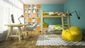 Interior of children room with bunk bed 3D rendering Stock Images
