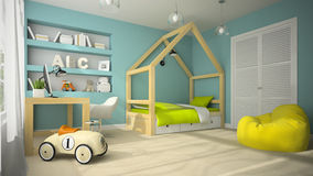 Interior of children room with toy car 3D rendering 4 Royalty Free Stock Photo