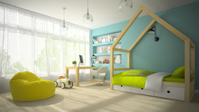 Interior of children room with toy car 3D rendering 3 Royalty Free Stock Photography