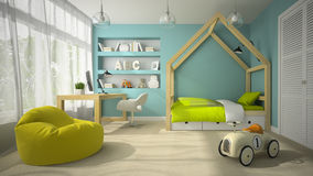 Interior of children room with toy car 3D rendering 2 Stock Photo