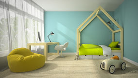 Interior of children room with toy car 3D rendering Stock Photography