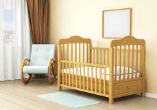 Interior of children room with wooden bed of kid. Concept of comfort Stock Image
