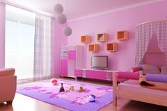 Interior of the children's roo. 3d interior of the children's room Royalty Free Stock Photography