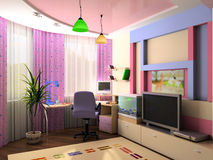 Interior of a children's room. In pink color Royalty Free Stock Image