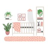 Interior children`s room. A set of furniture for the girl`s room. Furniture isolated on white background. Hand drawn vector illustration