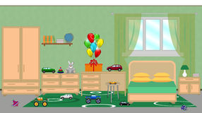 Interior of a childrens bedroom with furniture, festive decorat Stock Photo