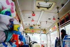 Interior chinês do ônibus Fotografia de Stock
