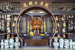 Interior of a chinese buddhist temple in thailand royalty free stock photos