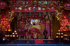 Interior of Chinese temple in Vietnam Royalty Free Stock Photo