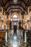 Interior of a christian church. Bench and Interior of a christian church,Public place Royalty Free Stock Photos